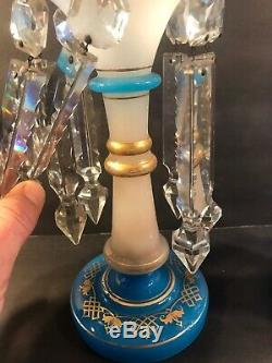 A Pair Of Antique French Opaline Glass Lustres/2 Color/ Probably Baccarat/C. 1900