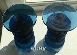 A Pair Of Wedgwood Blue Sheringham Glass Candlesticks By Ronald Stennett-willson