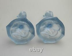 A pair Art Deco Glass Walther & Sohne blue Mermaid Nymphen Candlesticks C. 1930's