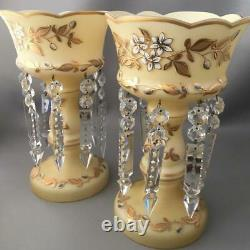 ANTIQUE BOHEMIAN GOLD CASED GLASS MANTLE LUSTER CANDLE HOLDER PAIR w CRYSTALS