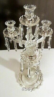 ANTIQUE Baccarat Crystal 4 Light 3 Arm DAUPHIN CANDELABRA 20 3/8 Made FRANCE