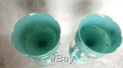 ANTIQUE FRENCH BLUE OPALINE ENAMEL DECORATED MANTLE LUSTRES WithPRISMS