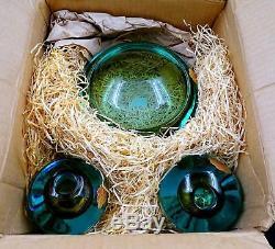 Alfredo Barbini Weil Glass Rare 3pc Boxed Center Bowl, Candlesticks Orig Sticker