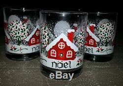 Anchor Hocking Christmas Noel Glasses / Tea Light Candle Holders