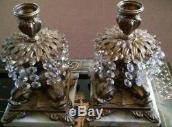 Antique 1800's Brass & Crystal Prisms Cut Glass Dish & Candle Holders