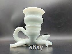 Antique 1890 Eapg Milk Glass Alligator Lizard Toothpick Matchstick Candle Holder