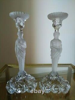 Antique 19th century Pressed Glass Baccarat Candlesticks Cariatides 11 3/4