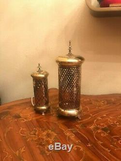 Antique Art Nouveau Candle holder and Candle Holder changed to Lamp 24 cm