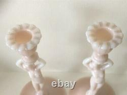 Antique Cambridge Glass Statuesque 3011 PINK Crown Tuscan Nude Candlestick PAIR