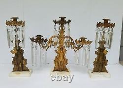 Antique Candelabra Girandole Candle holder withGlass Prisms Set