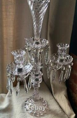 Antique French Art Glass Baccarat 3 Light Candelabra Bambous Swirl Crystal Prism