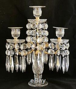 Antique French Gilt Bronze Ormolu Candelabra Cut Crystal Glass Prisms