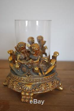 Antique Gilt Gold Effect Cherubs Glass Candle Holder High Quality & Beautiful