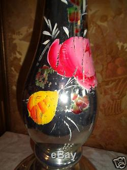 Antique Hand Painted Roses Floral Monumental Mercury Glass Candlestick Set 21