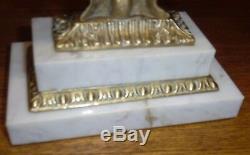 Antique Marble Base Crystal Prism Three Piece Girandole Set