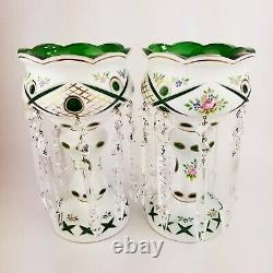 Antique Moser Bohemian Czech Cut to Green Enamel Flower Glass Mantle Lusters