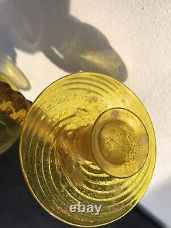 Antique Murano Gold Flakes Twist Cordonato Candelabra 2 ArmsMaybe Barovier Toso