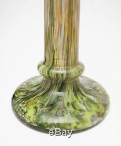 Antique Pair Franz Welz Czech Bohemian Glass Candlesticks Uranium Manganese