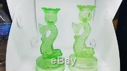 Antique Pair Of Vaseline Glass Dolphin Koi Candle Stick Holder