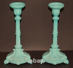 Antique Portieux French Blue Milk Glass Pillar Serpent & Koi Fish Candlesticks