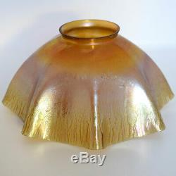 Antique Tiffany Studios Gold Favrile Glass Candlestick Table Lamp