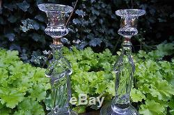 Antique VAL SAINT LAMBERT Glass Candle Stick Holder, price for two