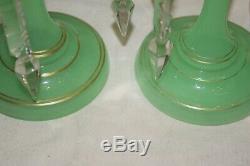 Antique Victorian Uranium Glass Bohemian Mantel Prism Fireplace Lusters