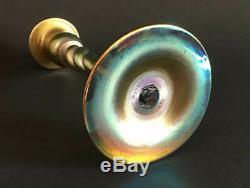Antique c1910 Pair Steuben Signed Aurene Art Glass Candlesticks Beautiful Set