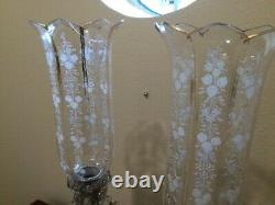 Antique crystal candelabras set of 2 with chiminies (baccarat)