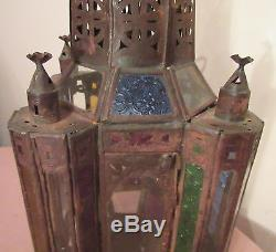 Antique handmade pierced Maroccan stained glass hanging chandelier candle holder