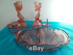 Art Deco Glass Walther Sohne pink peach Egyptian ladies Candlesticks C. 1930's