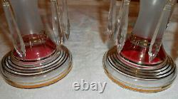BEAUTIFUL Pair BOHEMIAN Vintage Mantle LUSTERS Cranberry With Gold Trim & Prisms
