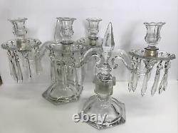 BEAUTIFUL VintagE Set 2 2-Light Candelabra With 2 Bobeche 20 Prism Crystals Each