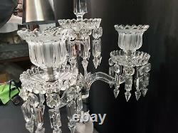 Baccarat Crystal 3 Arm Dolphin Candelabra French Centerpiece Prism Finial Top