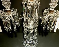 Baccarat Crystal CANDELABRA 3 Candle 2 Arm MEDALLION Style 1930s Vintage FRANCE