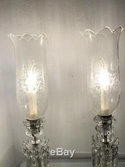Baccarat Crystal Candelabras 1 light feature Prism with Baccarat Crystal Verrine