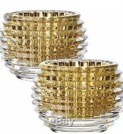 Baccarat Crystal Eye Votives In Gold Set Of 2 Orig $570
