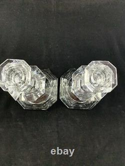 Baccarat Cut Crystal Regence Pattern Candlesticks Pair Candle Holder 7.25