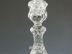 Baccarat France Crystal Bambous Swirl Candlesticks 9 tall