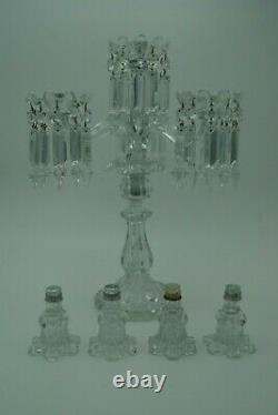 Baccarat Medallion 4 Lights Candelabra 3 Arms Bobeches Prisms Crystal France