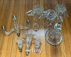 Baccarat Medallion Candelabra 3 Arms Bobeches Prisms Crystal France 22 Tall
