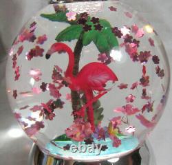 Bath & Body Works 3-Wick Candle Holder WATER GLOBE SUMMER PINK FLAMINGO Pedestal