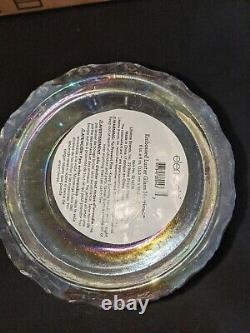 Bath & Body Works GLASS HURRICANE 3 Wick IRIDESCENT Candle Holder LUMINARY