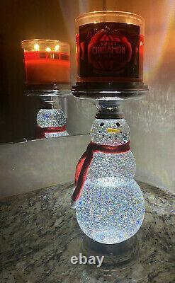 Bath & Body Works Light-Up Glitter Water Globe Snowman Pedestal Candle Holder