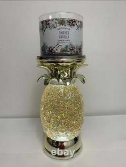 Bath & Body Works Pineapple Water Globe Pedestal 3-Wick Candle Holder Glitters