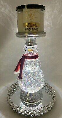 Bath & Body Works Water Glitter Globe Snowman 3 Wick Candle Holder Holiday 2020