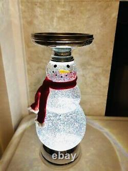 Bath & Body Works Water Glitter Globe Snowman 3 Wick Candle Holder Holiday NEW