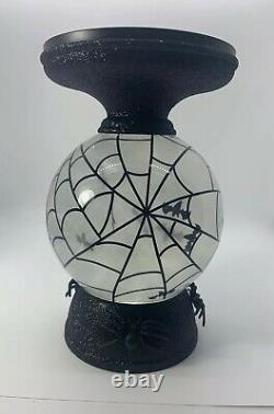 Bath and Body Works Halloween Candle Holder Water Globe Bat Pedestal Light Up