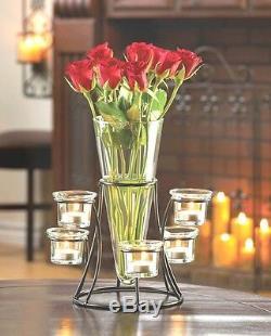 Black Candelabra Candle Holder Wedding Centerpiece w Vase