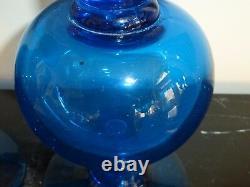 Blenko Glass Pair of Vintage Retro Cobalt Blue Candlesticks 10 High